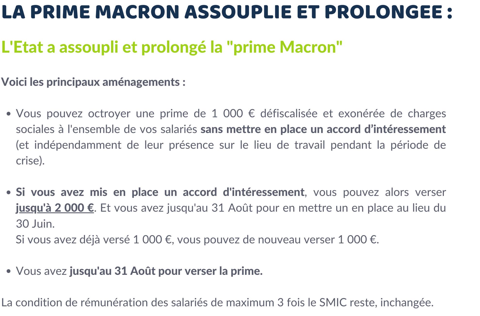 Prime Macron assouplie et prolongée